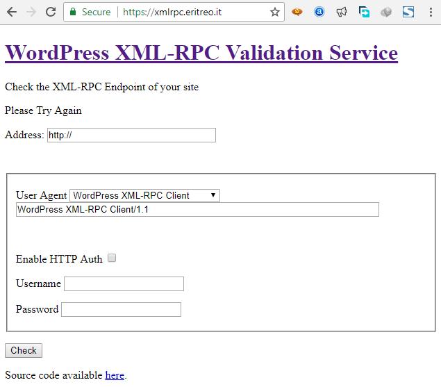 بررسی XML-RPC وردپرس از نظر صحت عملکرد