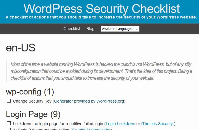 چک لیست امنیتی وردپرس